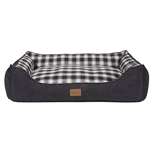 Carolina Bolster Pet Bed - Pendleton Pet Classics Kuddler (L, Charcoal Ombre Plaid)