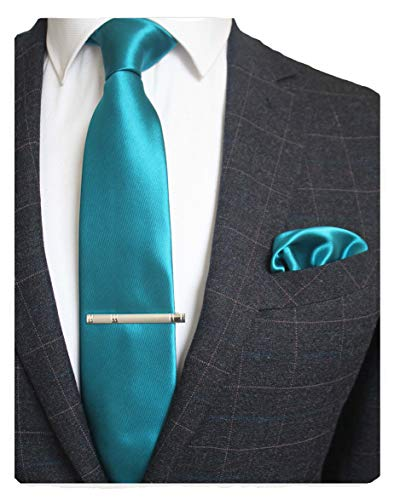 JEMYGINS Mens Formal Peacock Blue Necktie and Pocket Square, Hankerchief and Tie Bar Clip Sets (8)
