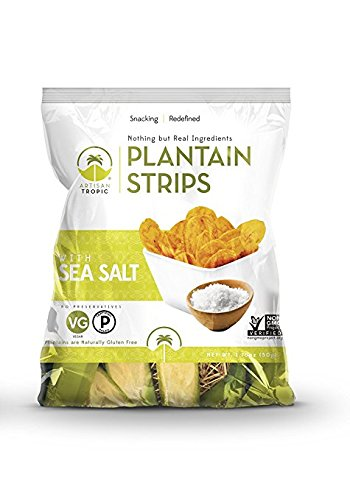 Artisan Tropic Plantain Strips with Sea Salt - Your Tasty and Healthy Snack Alternative - Paleo, Gluten Free, Vegan, Non-GMO - Made With Sustainable Palm Oil 1.75 Oz (16 Pack)