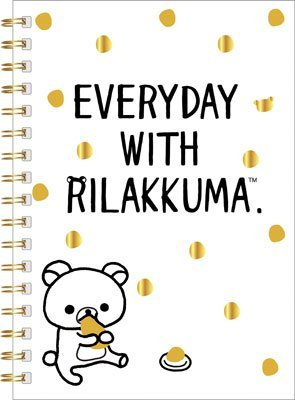 San-X Rilakkuma ring type B6 size, notebook , Everyday with Rilakkuma, eating , Black & White