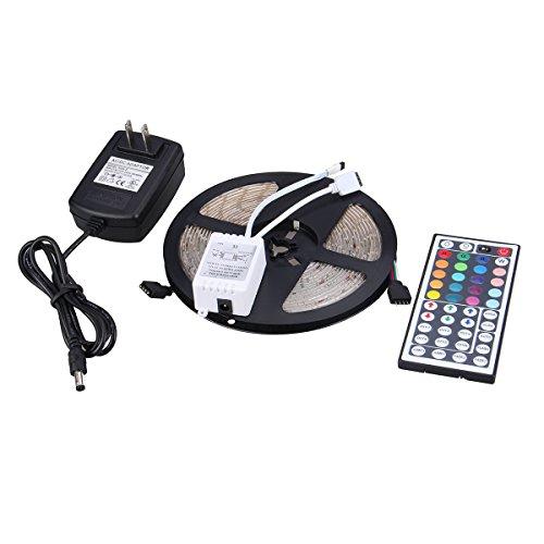 XKTTSUEERCRR Waterproof LED 3528 RGB SMD 300LED 5M Flexible Light Strip 12V 2A 24W 60LED/M + 44 Key IR Remote Controller + 12V 2A Power supply