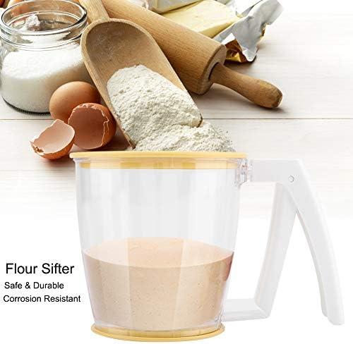 Ichiias Flour Sifter Handbecher Sieb Pulver Mesh Sieb Backzubehör Werkzeuge mit Deckel