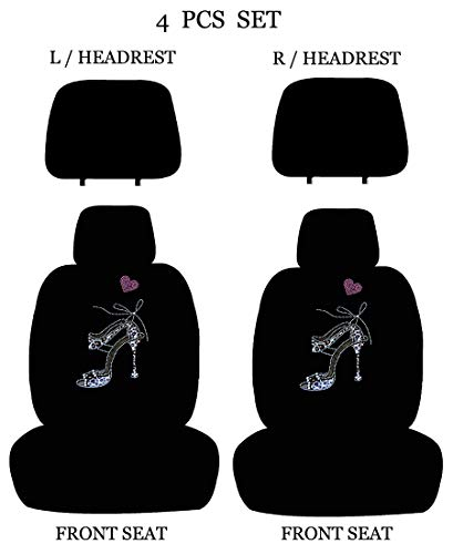 Universal Fit Front 4-Piece Full Set Crystal Bling Rhinestone Studded Low Back Front Bucket Seat Covers with Separate Headrest Covers (Leopard ()