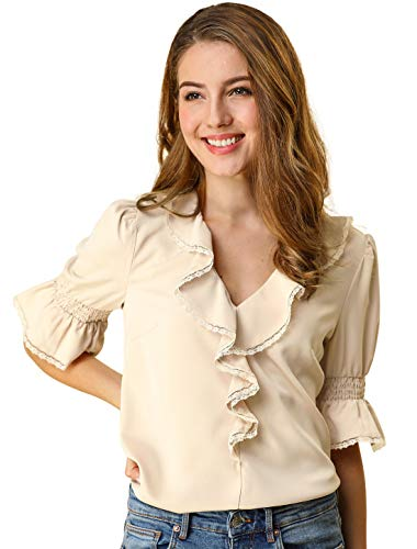 Allegra K Women's Ruffle V Neck Half Bell Sleeve Blouse Summer Vintage Casual Chiffon Peasant Top L Beige