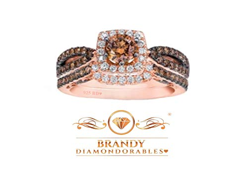 Brandy Diamondorables♥ Chocolate Brown 18k Rose Gold Silver Solitaire Princess Halo Beautiful Ring Set 2 Ctw.