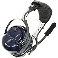 Heavy Duty Noise Cancelling Pilot Style Headset for Kenwood Baofeng Puxing Linton Wouxun Radio with Mini DIN connector (Blue)