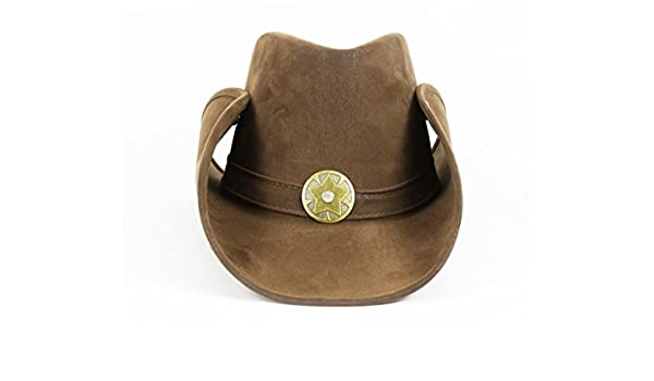 a9b6356e7ef2d3 Amazon.com: Largemouth Cowhand Style Faux Leather Cowboy Hat (Brown):  Clothing