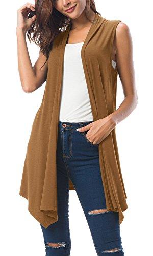 raped Open Front Cardigan Vest Asymmetric Hem (XL, Cashew) ()