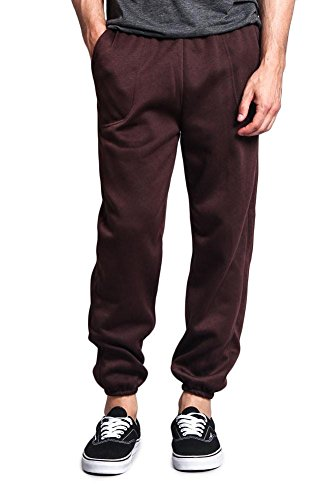 Victorious Men's Elastic Cuff Fleece Sweatpants - HILLSP - Brown - Small - GG1H
