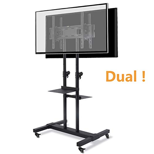 TAVR Dual Mobile TV Stand Rolling TV Cart Floor Stand with 2 TV Brackets on Locking Wheel Height Adjustable Shelf for 32-70 inch Flat Curved Screen TV Gaming Console Display,Loading 110 lbs MT1002