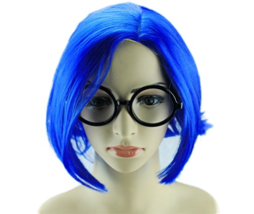 Glameow Adjustable Short Cosplay Wig Blue Green Hair Halloween Party Costume (Blue with Glasses)]()
