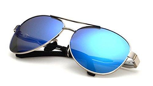 GAMT Reflective Mirror Lens Polarized Aviator Sunglasses Retro Metal Frame Classic UV400 Protection for Men and Women Silver Frame Blue - Mens For Bifocal Sunglasses Uk