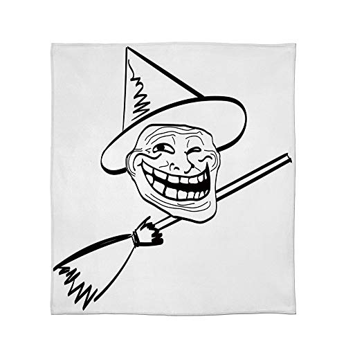 C COABALLA Ultra-Soft Flannel Blanket,Humor Decor,for Bed Couch Chair,Size Throw/Twin/Queen/King,Halloween Spirit Themed Witch Guy Meme LOL -