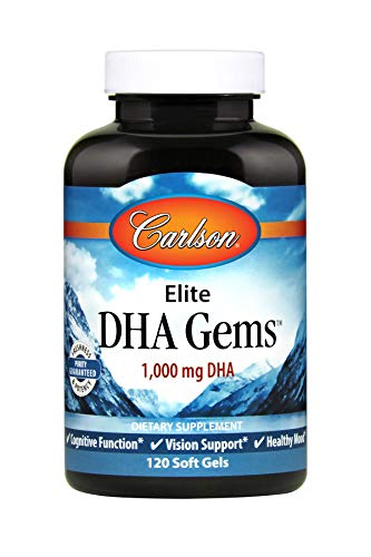 Carlson - Elite DHA Gems, 1000 mg DHA, Supports Healthy Brain Function & Vision, 120 Soft ()