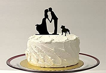 Kissing Couple Silhouette Wedding Cake Topper With Dog Bulldog Pitbull Bully Breed English American