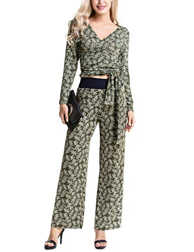 e896c83b09 Aifer Women s V Neck Long Sleeve Tropical Floral Two Piece Sets Wrap Belt  Tops Wide Leg
