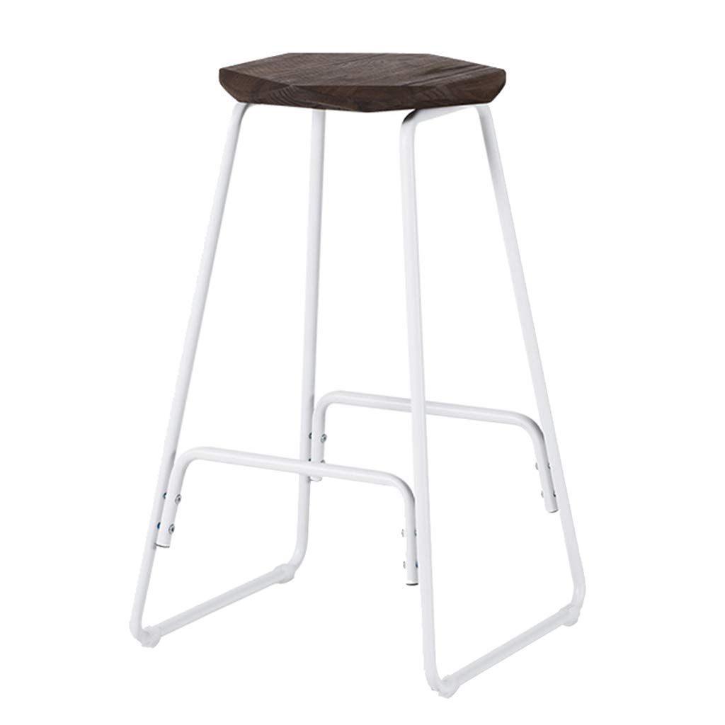 2 Bar Stool High Stool Simple Wrought Iron High Stool Solid Wood Seat Home Kitchen Breakfast Stool White Legs (Sitting Height  66.5CM) Dining Chair (color    2)