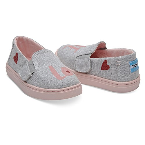 TOMS Tiny Luca Slip Ons Drizzle Grey Love 10011477 Tiny Size 5