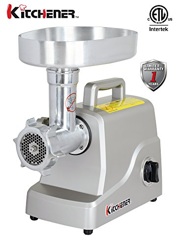 Kitchener Heavy Duty Electric Meat Grinder 2/3 HP (500W), 3-speed with Stainless Steel Cutting Blade, 2 Stainless Steel Grinding Plates and Stainless Steel Stuffing Plate by Kitchener