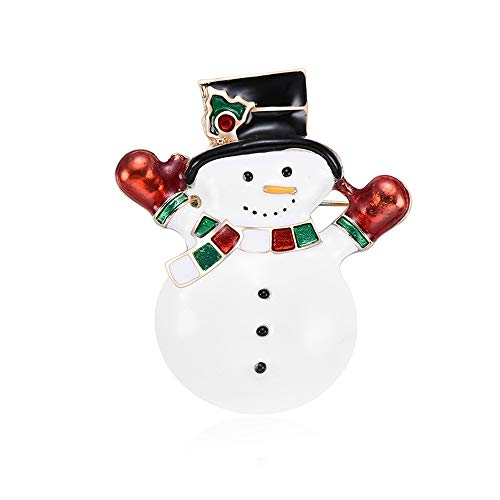 - BAFOME Cute Snowman Crystal Diamond Enamel Christmas Jewelry Gift for Women Girl