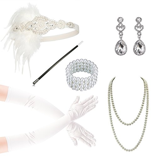 1920s Gatsby Flapper Accessories Headband Pearl Necklace Gloves Cigarette -