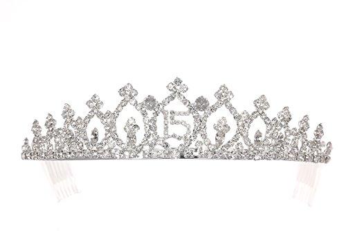 Birthday Party Rhinestone Crystal Tiara Crown - 15th Fifteenth Quinceanera T942