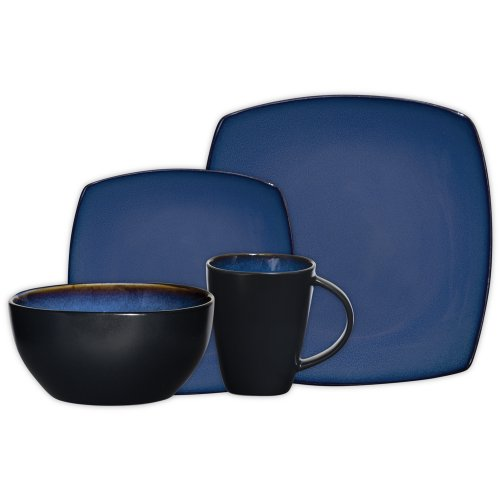 (Gibson Elite Soho Lounge Reactive Glaze 16 Piece Dinnerware Set in Blue; Includes 4 Dinner Plates; 4 Dessert Plates, 4 Bowls and 4 Mugs)