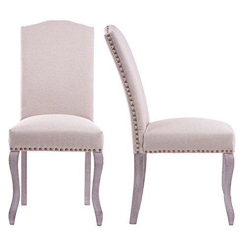 Merax Script Fabric Accent Chair Dining Room Chair with Solid Wood Legs BeigeSet of 2