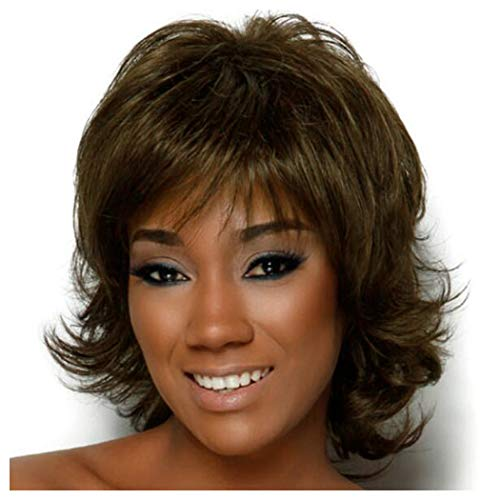 Short Bob Curly Wig Ombre Brown Wavy Full Hair Wig Heat Resistant Synthetic Fiber Hair Daily Party Wig For Black Women (Brown) (Trimmer Refill Blades Twist)