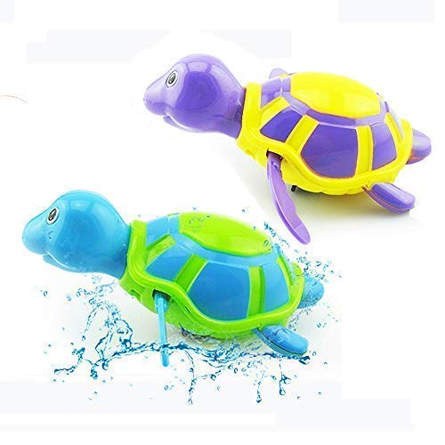 2 Pack Baby Bath Toys Clockwork Turtle for Toddlers Boys Girls, Wind up Water Toys Swimming Turtle Summer Pool Bathroom Float Toy Kids Child Plastic Bathtub Baby Shower Set for Bath Fun Time