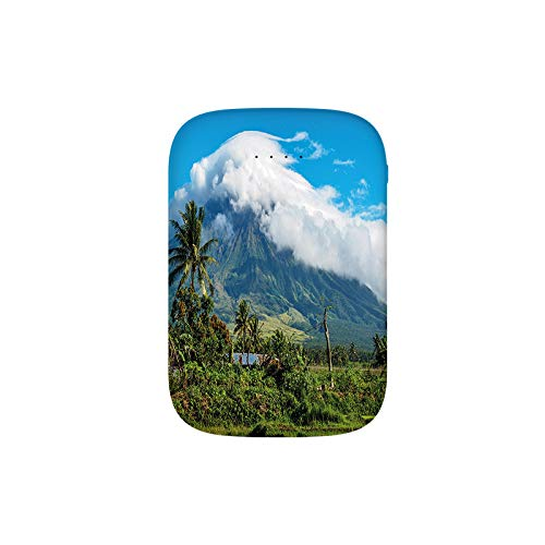 Mayon Volcano Mountain Peak Surrounded with Clouds Greenery Asian Landmark Portable Charger 8000mAh Power Bank External Battery Backup Pack Fast Charger for iPhone,Samsung Galaxy and More