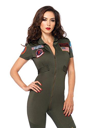 Leg Avenue Women's Top Gun Flight Suit Costume, Khaki, Medium - Military Adult Costumes