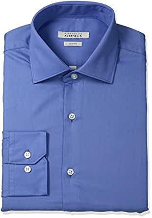 """Perry Ellis Men's Slim Fit Wrinkle Free Solid Twill Shirt with Adjustable Collar, Dress Blue, 15"""" Neck 32""""-33"""" Sleeve"""
