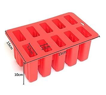 Ice Pop Popsicle Molds Kitchen DIY Ice Lolly Maker 10 Cell Frozen Juice Maker for Desserts Fruit or Yoghurt Red