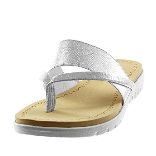 Angkorly Women's Fashion Shoes Sandals Flip-Flops - Slip-On - Metallic - Sneaker Sole - Shiny Wedge 2.5 cm Silver ViaUsm8T
