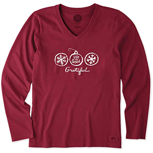 Life is Good. Womens Long Sleeve Crusher Vee: Grateful Ornament, Cranberry Red - XXL (Womens Life Is Good Clothes)
