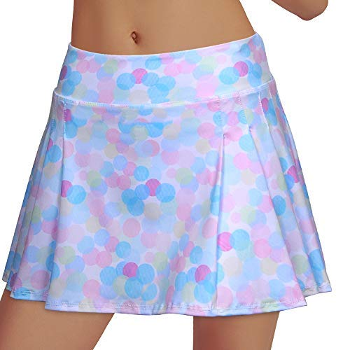 Women's Tennis Skirt Elastic Active Athletic Skort Lightweight Skirt Built-in Shorts for Running Tennis Golf Workout (Rainbow3, L) by RainbowTree
