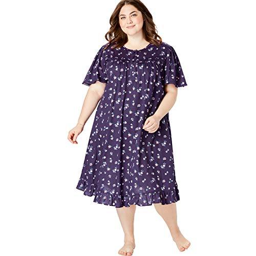 Dreams & Co. Women's Plus Size Short Floral Print Cotton Gown - Rich Violet Florals, 4X ()