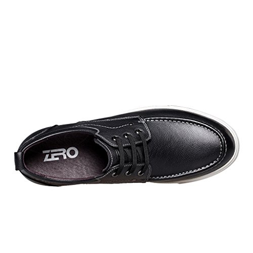 Zro Herenmode Casual Lederen Schoenen Lace-up Oxford Zwart