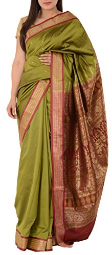 Skirts N Scarves Women's Artificial Silk Sari With Blouse Piece (Mehendi Green)