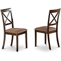 East West Furniture BOC-CAP-C X-Back Dining Chair Set with Faux Leather Upholstered Seat, Set of 2