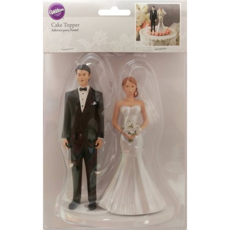 Modern Veil Bride and Groom Cake Topper
