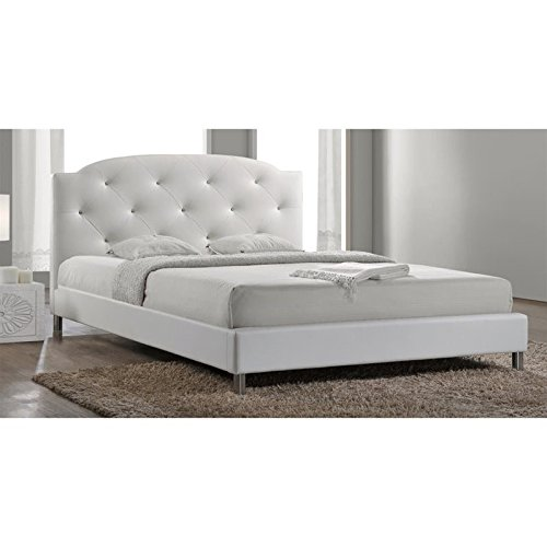 Baxton Studio Canterbury Leather Contemporary Bed, Queen, - Contemporary Platform Bed Queen