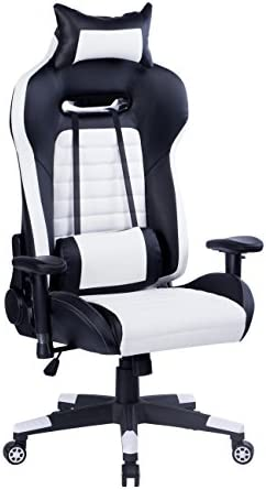Killbee Large Gaming Chair Reclining Computer Chair High Back Ergonomic Swivel Executive Office Chair, with Headrest and Lumbar Support Desk Chair,White