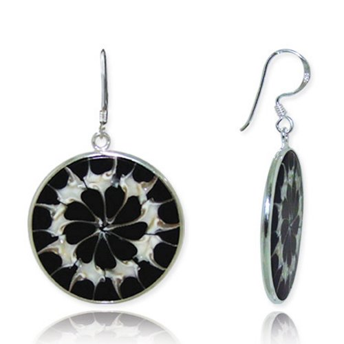 Natural Shell Earrings - 925 Sterling Silver Natural Top Shell Inlaid Black Resin Round Dangle Hook Earrings