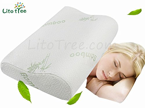 LitoTree Memory Foam Neck Pillow with Removable Washable Soft Bamboo Cover - Contour Care Pillow, Sleeper Orthopedic, Anti Snore, Prime Soft Supportive Comfortable Sleep Pillow, Size 20'x12'x4'