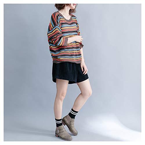 Ju il aumentare girocollo Brown sheng con per a colorato maglione righe Maglione cuciture Aggiungi a fertilizzante colorate casual rFr6xnqB