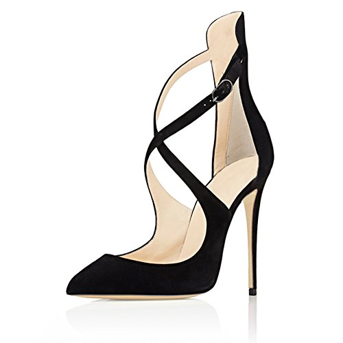 EKS - Zapatos de vestir de Material Sintético para mujer Schwarz-Faux Wildleder