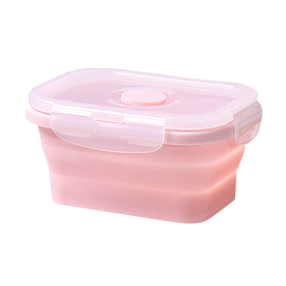 refrigerador de pl/ástico resistente a altas temperaturas 350 ml color rosa y azul Fiambrera port/átil plegable de silicona redonda para microondas