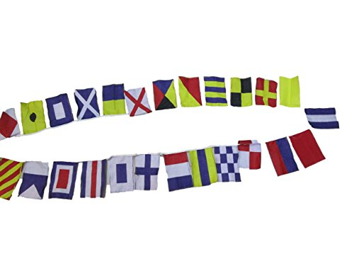 (Nautical Sailboat Boating Code Flag - 26 Flags Bunting - 11 Feet - 100% Cotton – Nautical/Boat/Beach Party (5183))